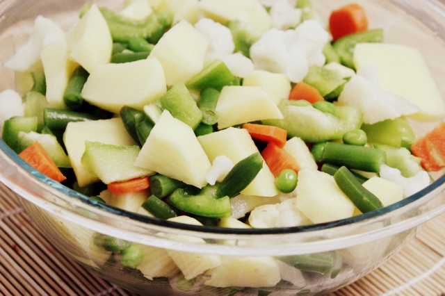 Chopped veggies for Pav Bhaji masala