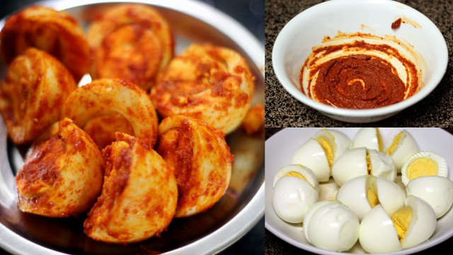 spice paste and marinated hard boiled eggs