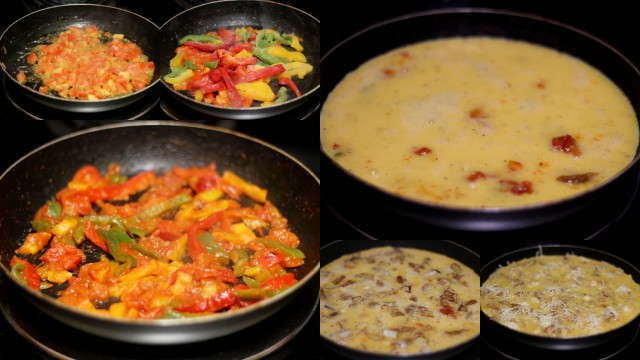 frittata step-by-step - sauteing veggies and adding eggs and meat