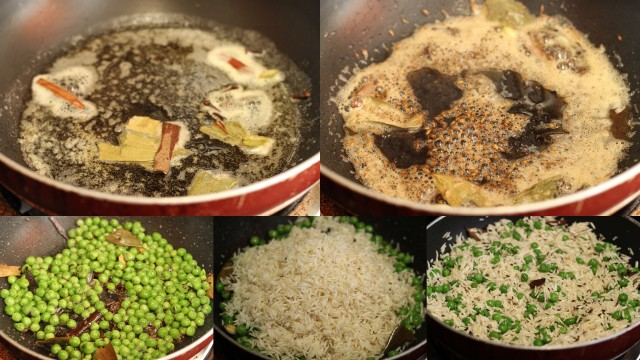 Jeera Peas Pulao - step by step picture recipe