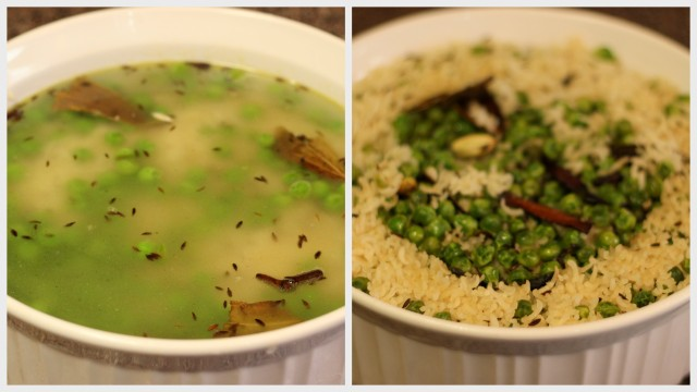 cooking peas pulao in the microwave