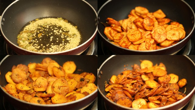vazhakkaivaruval_green_plantain_fry_step_by_step_making