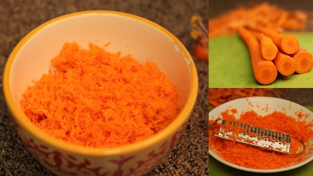 grated carrots for carrot halwa