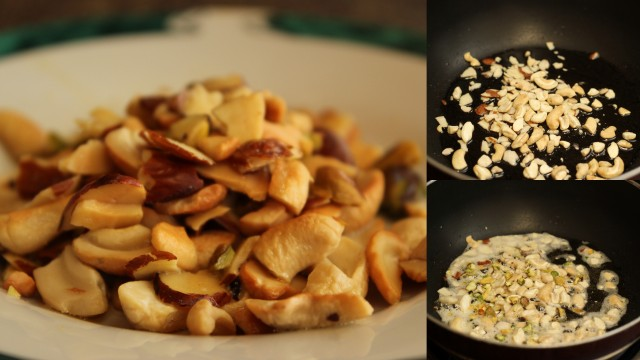 toasted nuts for carrot halwa