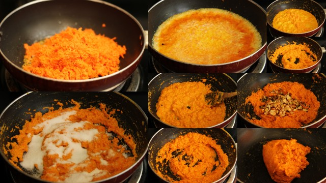 Gajar ka Halwa / Carrot Halwa recipe - step by step pictures, by AishCooks