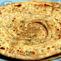 Laccha Paratha | Layered Indian Flatbread with Cilantro & Cumin