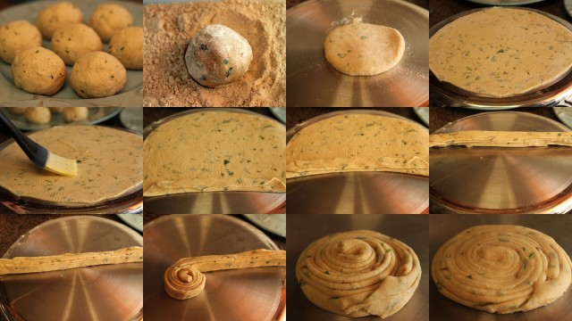 Make the layers for laccha paratha - step by step pictures