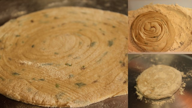 Roll out laccha parathas - step by step pictures