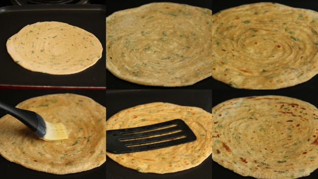 Making layered laccha parathas on a girdle