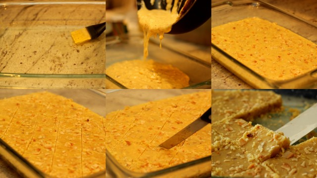 7-cup-barfi-pouring-and-cutting-into-cubes