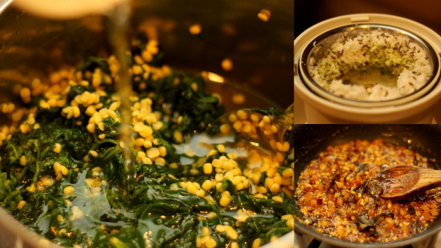 keerai-kootu-tempering-and-coconut-paste-added-to-cooked-spinach-and-lentils